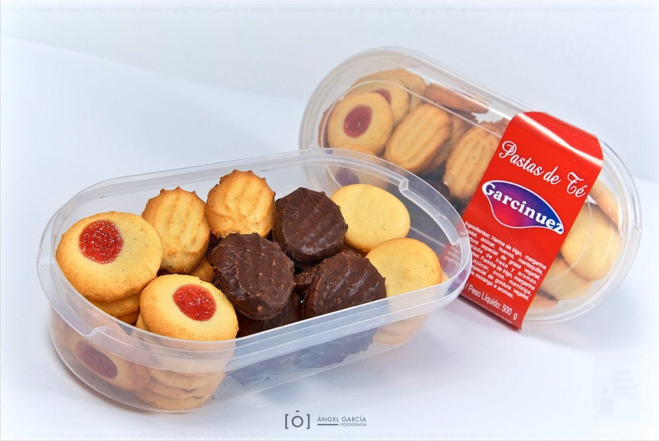 pastas, galletas, postre, dulce, caja, contenedor, palmeritas, chocolate, nata, coco, integral, aperitivo, garcinuez, paquete